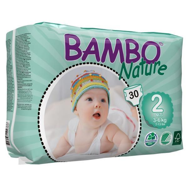 Bambo Nature Бебешки еко пелени 2 Mini  /3-6кг/ 30бр. 310132